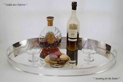 Silver Oval Gallery Tray And Vintage Orrefors Brandy Glasses Unusual Shape