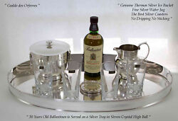 Silver Oval Gallery Tray,ice Bucket, Water Jug And Sèvres Thumblers
