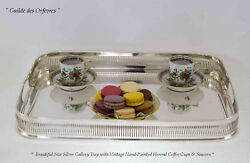 Silver Oblong Gallery Tray And Vintage Herend Demi-tasse And Saucer