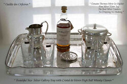 Silver Gallery Tray, Ice Bucket, Water Jug, Set Of 6 Coasters And Sèvres Thumblers