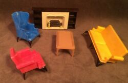 Vintage A Plasco Toy Ideal Dollhouse Fireplace Couch Chairs Living Room Set