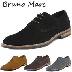 BRUNO MARC Mens Oxford Shoes Lace Up Business Casual Suede Leather Shoes Black $30.39