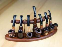 Watlux Pipe Stand Rack Hold Display For 7 Smoking Pipes Holder Stand Wooden New
