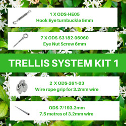 Kit 1 Green Wall Trellis Systems Climbing Plants Mounts - Stainless Steel