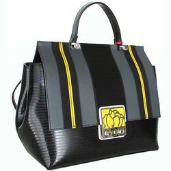 Braccialini Made in Italy designer black leather Flap Bag wit gray yellow strips
