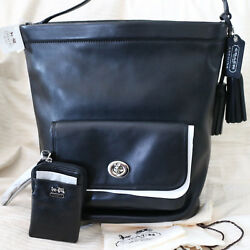 NWT COACH LEGACY Leather Black Bucket DUFFLE Black Cherry Shoulder Bag+Wristlet