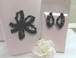 VTG FRENCH JET LARGE BROACH AND CLIP EARRING SUITE SIGNED WEISS EUC $30.00