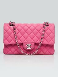 Chanel Pink Quilted Matte Caviar Leather Classic Medium Double Flap Bag
