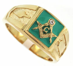 Mason Masonic Green Gold Clear Stainless Steel Ring Size 6 7 8 9 10 11 12 13 14
