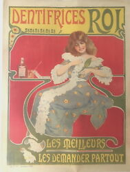 Original Vintage C.1890 Dentifrices Roi French Poster Linen Backed