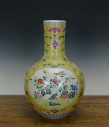 Large Chinese Famille Rose Painted Yellow Ground Porcelain Vase