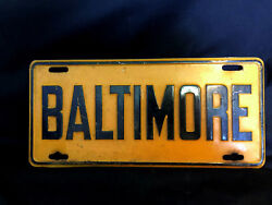 Old Vintage Collectible Baltimore Md Vanity Plate Black And Orangish Yellow