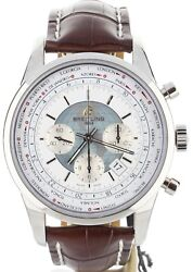 BNIB TRANSOCEAN CHRONO UNITIME POLAR WHT 24MM DK BROWN ON DEPLOY AB0510UO/A732