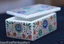 4x3x2 White Jewelry Box Multi Stone Floral Inlay Best Gift To Girls H1955