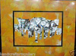 4'x2' Marble Dining Table Top Inlay Mother of Pearl Gemstone Elephant Art H508