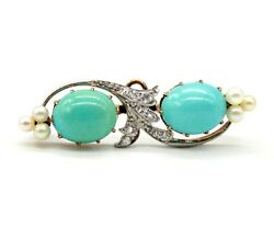Antique 14k Yellow Turquoise And Rose Cut Diamonds Pin Brooch Pendant With Pearls