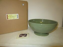 Longaberger Footed Bowl Sage Pottery Serving Dish Brand New In Box
