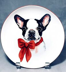 """Boston Terrier puppy with red bow 7 78"""" porcelain Christmas plate"""