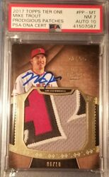 Mike Trout 2017 Topps Tier One Jumbo Jersey Letter Signed Mlb Psa 7 Auto 10