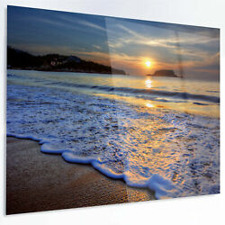Design Art 'Calm Seashore with Blue Waves' Photographic Print on Metal