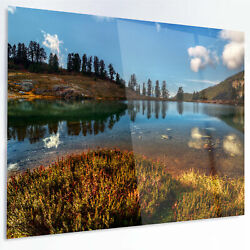 Design Art 'Calm Mountain Lake and Clear Sky' Photographic Print on Metal