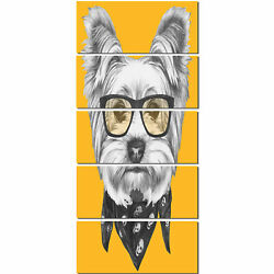 Design Art Funny Terrier Dog with Glasses' 5 Piece Graphic Art on Metal Set