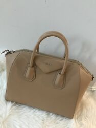 NWT Auth Givenchy Antigona Light BeigeSugar Leather Medium Satchel Handbag $2450
