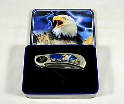 Eagle With Lightning Lockback Pocket Knife With Collectors Tin - Fighter Plus
