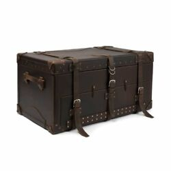 new leather bag vintage men luggage travel trunk coffee table furniture storage
