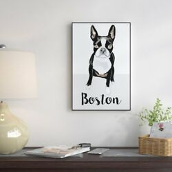 'Boston Terrier' Floater Framed Watercolor Painting Print on Canvas
