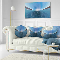 East Urban Home Landscape Printed Ice on Lake Baikal Ice at Sunset Throw Pillow
