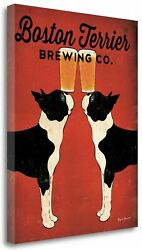 'Boston Terrier Brewing Co' by Ryan Fowler Graphic Art on Wrapped Canvas