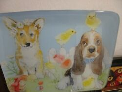 Basset Hound Puppy Dog Easter Tempered Glass Platter Tray - Chicks Flowers NEW