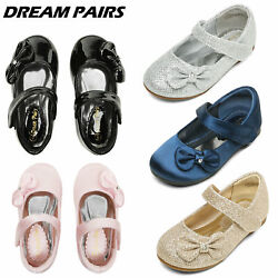 DREAM PAIRS Toddler Girls Kids Flat Shoes Dress Shoes Bow knot Mary Jane shoes $17.99