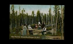 Oneonta NY 1908 CANCELLED postcard Farming Family w Kids HOP PICKING sorting J7