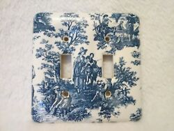 Blue & White Willow Vintage Ceramic Porcelain Double Light Switch Plate Cover