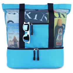 Mesh Beach Tote Bag with Zipper Top and Insulated Picnic Cooler a free...