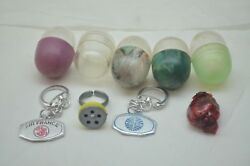 Vintage Vending Machine Toy Charm Lot Capsules Gumball 1960s Pan Am Keyring 9pc