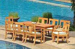 9-piece Outdoor Teak Dining Patio Set 83 Rectangle Table 8 Arm Chairs Osbo
