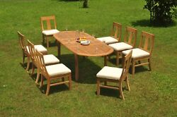 9-piece Outdoor Teak Dining Set 94 Oval Extension Table 8 Armless Chairs Osbo