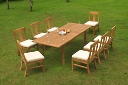 9-piece Outdoor Teak Dining 94 Rectangle Extension Table 8 Armless Chairs Osbo