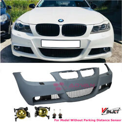 M3 Style Front Bumper For 06-08 BMW E90 3-Series Sedan Yellow Fog Lights NO PDC