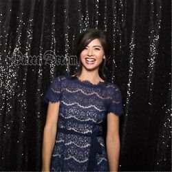 4x6.5ft Black Sequin Backdrop Shimmer Photography Backdrop for Wedding Curtains