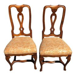 C.1910 Antique Italian Venetian Walnut Game Chairs With New Fortuny Upholstery