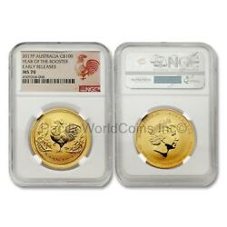 Australia 2017 Year Of The Rooster 100 1 Oz Gold Ngc Ms70 Er Sku6773