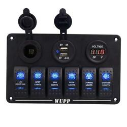 WUPP Marine Boat Rocker Switch Panel 6 8 Gang Waterproof ON Off Toggle...