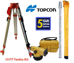 Topcon At-b4a 24x Automatic Level With 13 Ft Tenths/height Survey Rod And Tripod