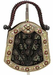 MARY FRANCES Bag Clutch Beaded Evening Black Gold Green Red Flap Snap Handle
