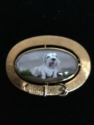 Exquisite Vintage Essex Crystal Reverse Painted White Terrier Dog Brooch 14k