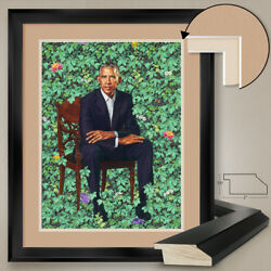 32wx40h Barack Obama Sitting Over Wall Garden - Double Matte Glass And Frame